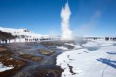 Geyser and hot thermal pools, Iceland — Stock Photo
