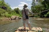 Bamboo rafting in China — Stock Photo