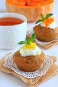 Pumpkin muffins with lemon sauce — Stock Photo