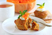 Pumpkin muffins with lemon sauce — Stockfoto