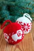 Knitted balls for new-year tree decoration — Stock Photo