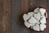 Heart shape cookies with coconut icing — Stock Photo