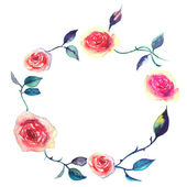 Watercolor decorative elements - wreath with rose — 图库矢量图片