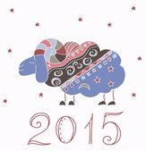 Decorative illustration with new year sheep 2015 — 图库矢量图片
