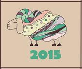 Decorative sheep New Year illustration — 图库矢量图片