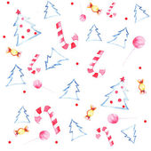 Seamless watercolor pattern  with different candies and christmas trees — Stock Vector