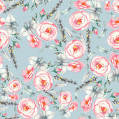 Hand drawn watercolor floral seamless pattern with tender pink roses in vector on the light blue background — Stock Vector