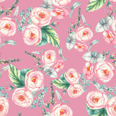 Hand drawn watercolor floral seamless pattern with tender pink roses in vector on the pink background — Stock Vector