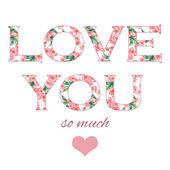 Нежная иллюстрация для Вашей поздравительной открытки для Дня святого Валентина Св. с цветочным акварельным написанием любит Вас в векторе — Cтоковый вектор