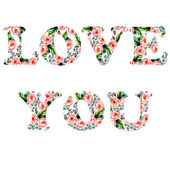 Tender illustration for your greeting card for St. Valentine day with floral watercolor writing Love you in vector — Stockvector