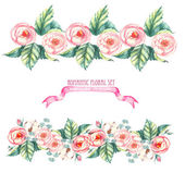 Hand drawn watercolor isolated romantic floral compositions, made like a floral borders with pink roses, leaves and other flowers on the white background — Stock Vector