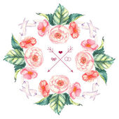 Hand drawn watercolor tender and romantic floral wreath with roses, brier and other flowers and leaves — Vector de stock