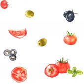Watercolor tomato, green and black olives — Vector de stock
