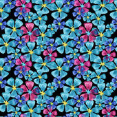 Watercolor blue and pink flowers pattern — Cтоковый вектор