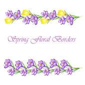 Watercolor borders with crocus flowers — Stock Vector