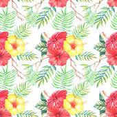 Padrão sem emenda com flores de hibisco — Vetor de Stock