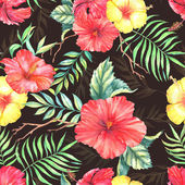 Pattern with colorful exotic hibiscus flowers — Stock Vector