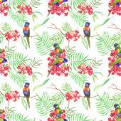 Тропические цветы и попугаи лорикет — Cтоковый вектор