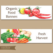 Watercolor banners with organic food — Stock Vector