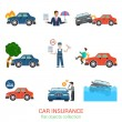Flat style icons of car insurance — Stock Vector #83142536