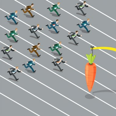 Businessmen crowd running to catch carrot.