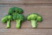 Fresh broccoli on the wooden table  — Stock Photo