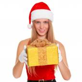 Beautiful sexy girl wearing santa claus clothes with christmas gift. Isolated on white background — Stock Photo
