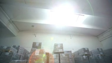 Inside a storage warehouse. Camera moving. — Stock Video