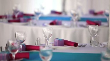 Ready for the holiday banquet hall beautiful restaurant — Stock Video