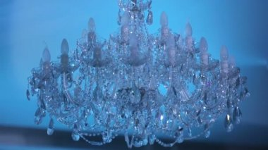 Large expensive chandeliers — Stock Video