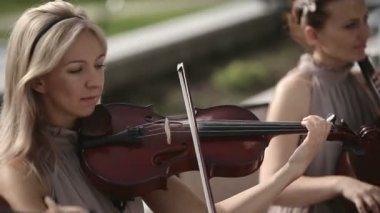 Musical quartet. Violinist plays against the sky. — Stock Video
