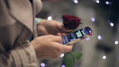 The girl with a rose in hand uses a phone girl writes her boyfriend message. — Vídeo de stock