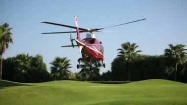 Helicopter landing  on the beautiful green pad. Sequence 3 shot — Stock Video
