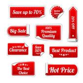 Set Of red paper SALE stickers. Round, square and rectangular stickers — Stockvector