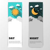 Day and night vector banners isolated — Wektor stockowy