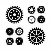 Black gears icons set. — Stock Vector