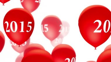 Balloons 2015 Red on White (Loop) — Stock Video
