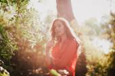 Beautiful Young Woman Enjoying Sunset — Stock Photo