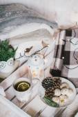 Christmas still life with tea, lights, cones and cookies — Stock Photo