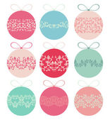Set of Christmas balls with tracery — Stock Vector