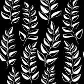 Modello senza cuciture con le foglie bianche su sfondo nero — Foto Stock