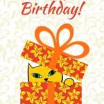 Card. Happy birthday! Cat in a box — Stock Photo #77879318