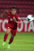AFC U-16 Championship between Thailand and Malaysia — Stock Photo