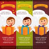 Vector colorful banners with man and gift — Cтоковый вектор