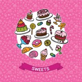 Vector set colorful sweets on white circle. With seamless sweets. — ストックベクタ