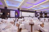 Wedding hall with colorful lights — Stockfoto