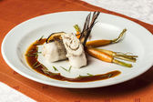 Fish fillet with vegetables and soy sauce — Stockfoto