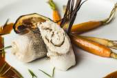 Fish fillet with vegetables and soy sauce — Foto Stock