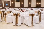 Arranged tables at banquet hall — Stock Photo