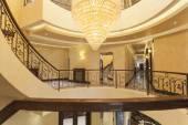 Beautiful chandelier in hotel interior — Stock Photo